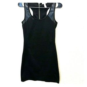 Ambiance Apparel Racerback Faux Leather Detail